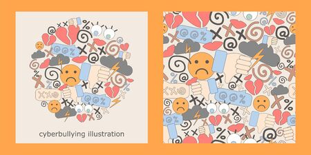 illustration and seamless pattern with cyberbullying. online pressure. Posting remarks, or pejorative labels. profanity and harassment.
