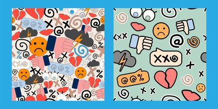 two seamless patterns with stickers of cyberbullying on blue background. online pressure. Posting sexual remarks, or pejorative labels. profanity and sexual harassment. Illustration
