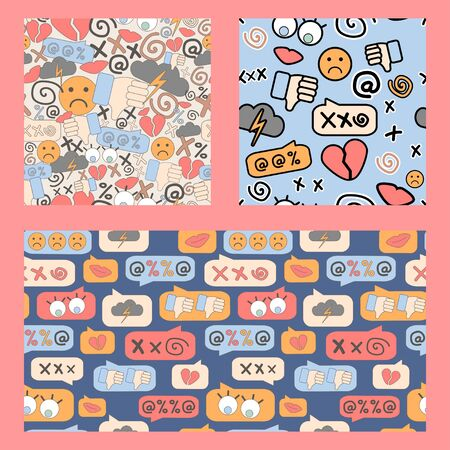 seamless patterns set of cyberbullying, online bullying, stickers. Posting sexual remarks, or pejorative labels. profanity and sexual harassment.