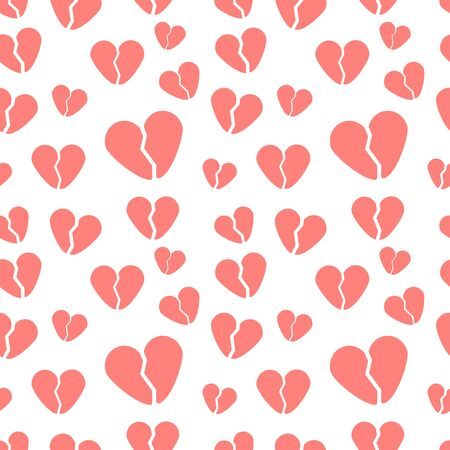 seamless pattern with broken hearts on a white background. Modern abstract design for paper, cover, fabric, interior decor