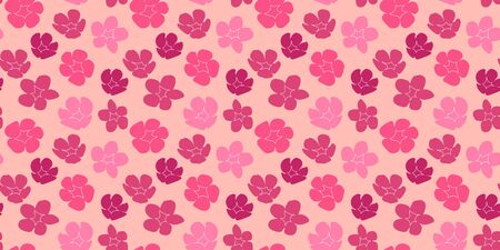 seamless pattern with silhouettes of bright pink flowers on a delicate pink background. Modern abstract design for paper, cover, fabric, interior decor Illustration
