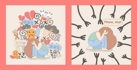 set of two Illustrations with a scared woman who covered her ears with her hands. the girl is afraid and wants everything to stop. woman is under pressure from harassment.