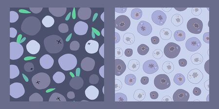 two seamless patterns with wild blueberries, bilberries and leaves on a dark lilac background. berry tea and dessert. Modern abstract design for packaging, paper, cover, fabric, interior decor Ilustracja