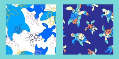 two seamless patterns with bright colorful silhouettes of turtles on a white and blue backgrounds. Modern abstract design for packaging, paper, cover, fabric, interior decor