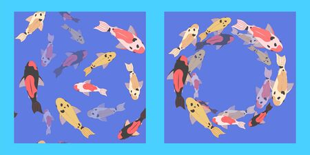 illustration and seamless pattern with a school of multi-colored koi carps on blue background. fish swim at different depths. Modern abstract design for paper, cover, fabric