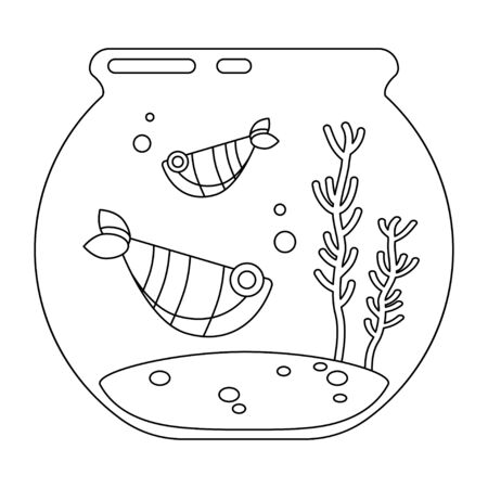 template for child coloring. two fishes swimming in the aquarium. Pets in linear style