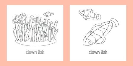 two templates for baby coloring. clown fishes swimming in the coral. linear style