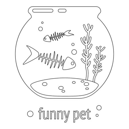 template for child coloring. two fish skeletons swimming in the aquarium. Pets in linear style. halloween template