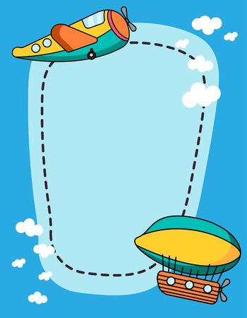 Border design with cartoon air transports illustration. kids toys for boys. multi-colored plane, aerostat and balloon