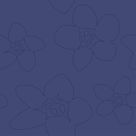 seamless pattern with linear style flowers. Modern design for clothes, packaging, paper, cover, fabricerior decor Ilustracja