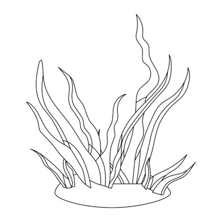 coloring book for children. seaweed and grass in linear style. black and white illustration