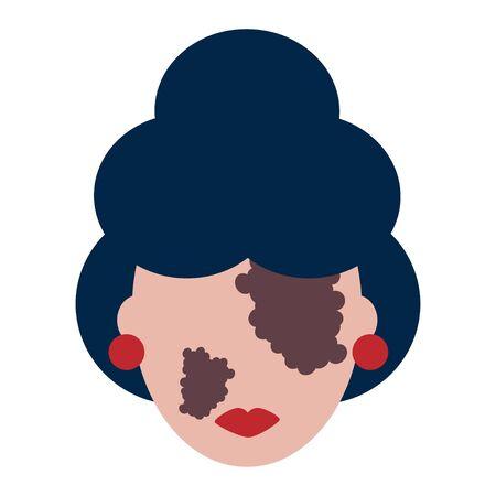 illustration of person with vitiligo disease. white-skinned woman with vitiligo. modern abstract design. icon
