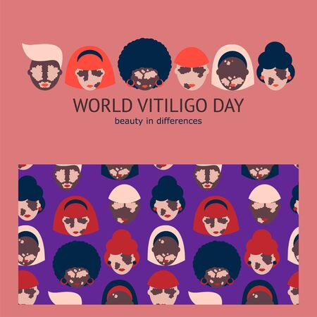 set of templates with people of different nationalities suffering from vitiligo. poster and seamless pattern for vitiligo day. Modern design for clothes, packaging, paper, cover, fabric