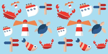 sea voyage pattern with turtle, fish, crab, lighthouse, ship and signpost. sea animals. Modern design for packaging, paper, fabric. print for clothes 向量圖像