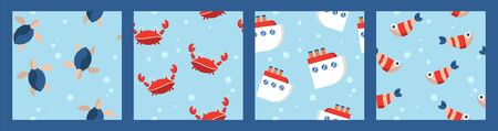 set of four nautical baby seamless patterns with fish, crabs, ships and turtles. cartoon flat design. Marine theme. for packaging, paper, fabric. print for clothes