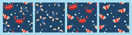 set of four seamless patterns with cartoon animals. red crabs, fish, turtles and bubbles. cartoon flat design. Marine theme. for packaging, paper, fabric. print for clothes Ilustracja