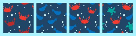 set of four seamless patterns with silhouettes of red crabs, fish, turtles and bubbles. cartoon flat design. Marine theme. for packaging, paper, fabric. print for clothes