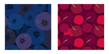 set of two seamless patterns with cartoon sweet cherry, blueberries, bilberry harvest and twigs. cartoon flat design. fruit theme. for packaging, paper, fabric. print for clothes Banque d'images - 150168159