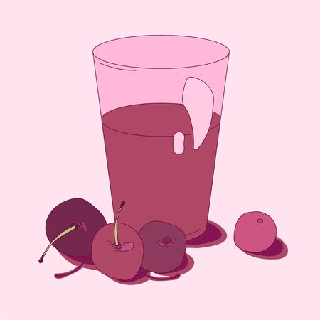 illustration with a glass of berry juice. sweet cherry, fruit yogurt and dessert. for packaging, paper, fabric. print for clothes
