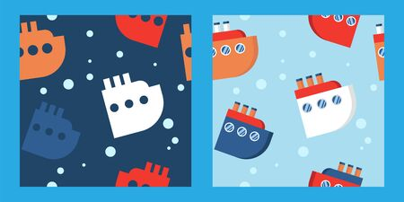 set of two baby seamless patterns with multicolored ships and liners on a blue background. cartoon flat design. cruise. Marine theme for boys. for packaging, paper, fabric. print for clothes