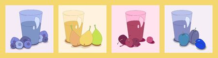 illustration with four types of juice. pear, cherry, plum and blueberry juice. fruit and berry dessert. Modern abstract design for paper, cover, fabric