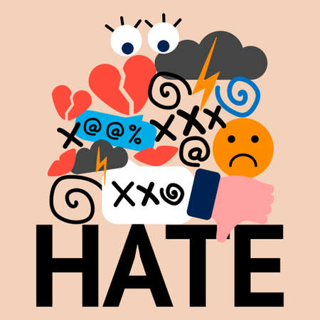 illustration of hate and cyberbullying. online pressure. sexual remarks, or pejorative labels. profanity and sexual harassment. hatred
