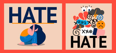 set of two illustrations of hate and cyberbullying. online pressure. sexual remarks, or pejorative labels. profanity and sexual harassment. woman is trying to resist the onslaught of hatred