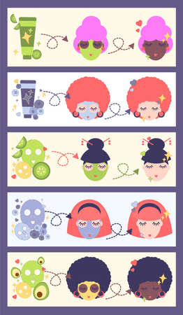 five illustrations with skin care steps. natural cosmetics based on blueberry, bilberry, avocado, cucumber. facial masks, cream, scrub. Face care concept. black, asian and white women 向量圖像