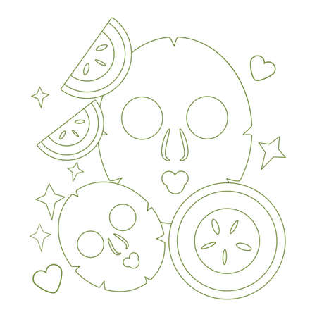 illustration with masks for face skin in linear style. natural skin care based on cucumber. Modern design for packaging, paper, fabric 向量圖像
