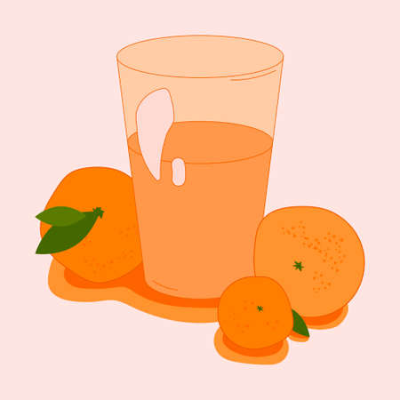 illustration with a glass of sweet oranges and tangerines juice. flat design. fruit theme. for packaging, paper, fabric. print for clothes Illustration