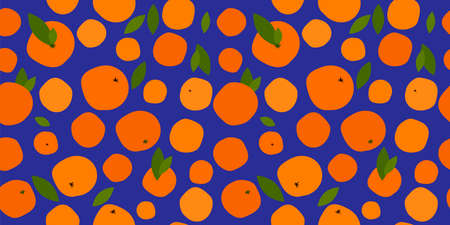 seamless pattern with bright orange citruses on a blue background. ripe oranges, tangerines and leaves. modern abstract design for packaging, print for clothes, fabric