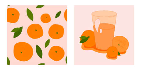 set of two citrus templates. glass of sweet citruses and seamless pattern with ripe oranges, tangerines and leaves. modern abstract design for packaging, print for clothes, fabric