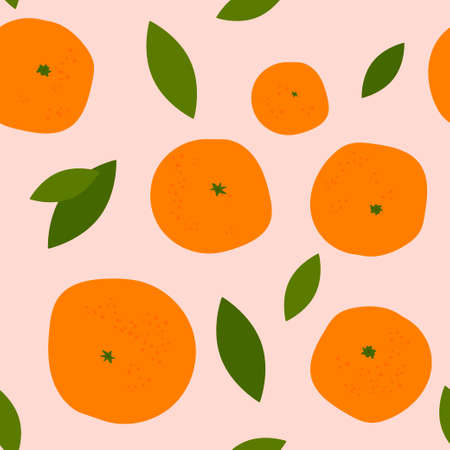 seamless pattern with bright orange citruses on a light colored background. ripe oranges, tangerines and leaves. modern abstract design for packaging, print for clothes, fabric