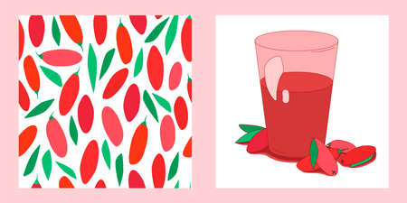 set of two berries templates. glass of sweet juice and seamless pattern with ripe goji and leaves. modern abstract design for packaging, print for clothes, fabric