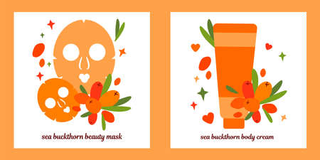 Set of two illustrations. Tube of cream and masks for face skin. natural skin care based on sea buckthorn berries. mask for the skin around the eyes. 向量圖像