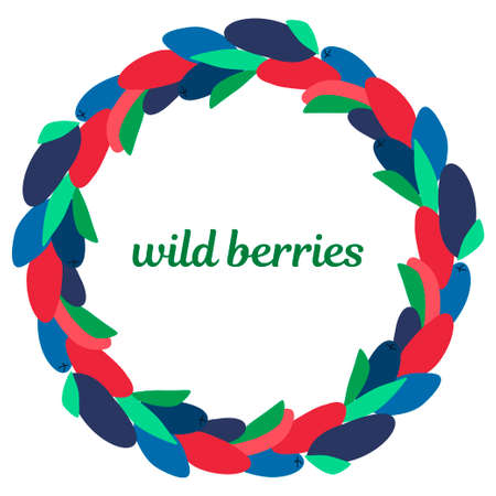 wreath of wild red and blue berries and leaves on a white background. modern abstract design for packaging, print for clothes, fabric, for postcards