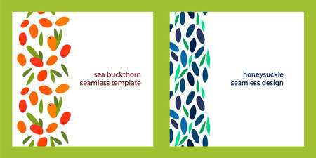 set of two seamless designs with sea buckthorn berries, honeysuckle and leaves on a white background. modern abstract design for packaging, print for clothes, fabric Vettoriali