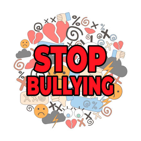 poster of National Bullying Prevention Month. hate and cyberbullying. online pressure. sexual remarks, or pejorative labels. profanity and sexual harassment. hatred. stop bullying