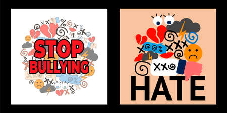 set with two illustrations of National Bullying Prevention Month. hate and cyberbullying. online pressure. sexual remarks, or pejorative labels. profanity and harassment. hatred. stop bullying Illustration