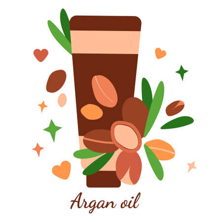 illustration with tube of argan oil. argan berries with leaves. modern abstract design for background, packaging paper, cover, fabric, card, cosmetics and oil
