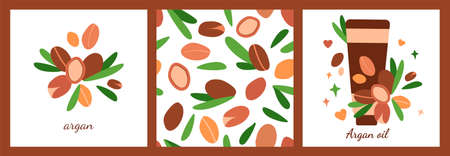 set of three templates with tube of argan oil. seamless pattern. argan berries with leaves. modern abstract design for background, packaging paper, cover, fabric, card, cosmetics and oil Stock fotó - 155508213
