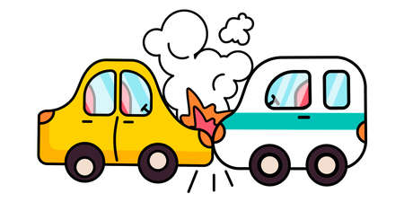 Car crash. auto insurance. comic style vector illustration. Car accident concept. flat design