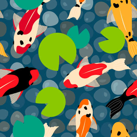 seamless pattern with koi carps and water lilies in the pond. pebbles, modern abstract design for background, packaging paper, cover, fabric, card 일러스트