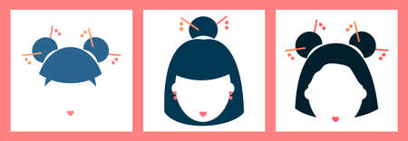 three icons, illustration with asian woman face. Chinese, Japanese and Korean woman. modern design for packaging, paper, fabric, card, cosmetics