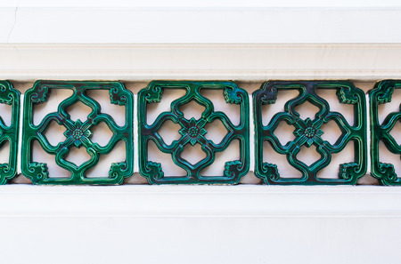 wall tile: Green Ceramics Wall Tile Decorate Chinese Style Background Stock Photo