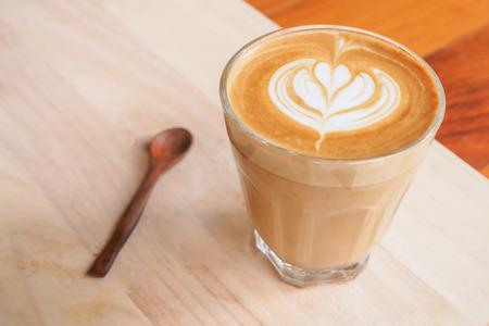 cappuccio: Cup of art latte on a cappuccino coffee Selective Focus