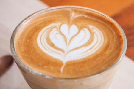 cappuccio: Close-up of art latte on a cappuccino coffee Selective Focus