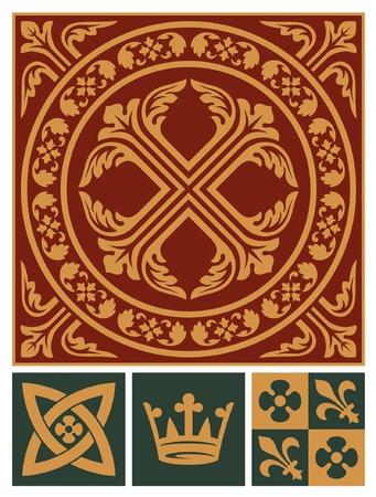 Middle ages ornament set Vektorové ilustrace