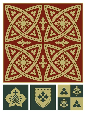 the middle ages: Middle ages ornament set