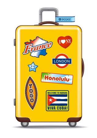 destinos: Maleta de viaje con pegatinas